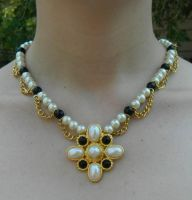 Tudor Inspired Pearl Necklace Close Up 2 by DOC-Ash1391