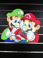Mario and Luigi 3DS wall display by SoVeryUnofficial