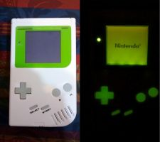New Custom Gameboy For Sale. White Shell, Glowing by KAIJUfreak