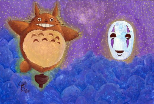 Totoro and No Face Up in the Sky by shoujo-otaku
