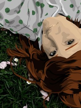 Girl in the grass Vector by Naes-chen
