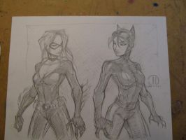 Black Cat vs Cat Woman sketch by JoeyVazquez