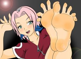 sakura and her sweet feet ... by gaara3107