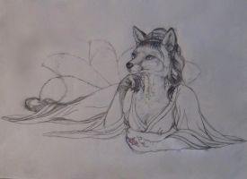 Kitsune Amidst Cherry Blossoms   WIP draft 3 by teiirka
