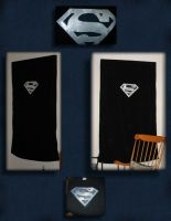 Superman Silver+Black Curtains by UrsulaPatch