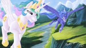 Princess Celestia And Princess Luna by JoshCraven