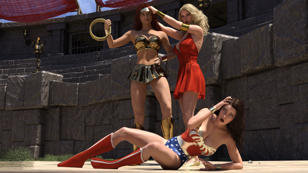 Wonder Woman defeated by the New Wonder Woman! by rustedpeaces