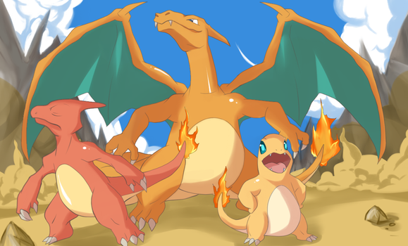Proud Charmander Family by LS-Leon