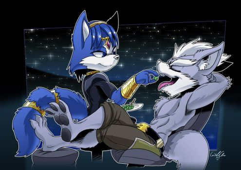 Commission: Wolf O'Donnel and Krystal by SupaCrikeyDave