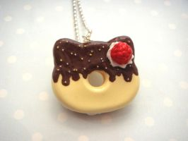 Hello Kitty Chocolate Dipped Donut Necklace by tiramisuxfluff