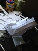Halo 3 Spartan costume right forearm WIP 1 by W4RH0US3