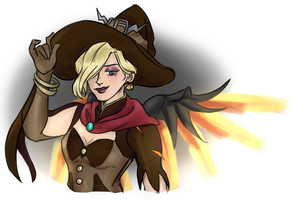 This Damn Skin aka. Witch Mercy ( Overwatch ) by Ikolit
