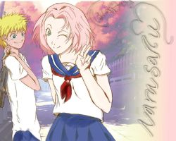 NaruSaku..school days by lil-artist5