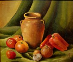 still life in  oilcolour by avellajorge