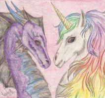 dragon and unicorn by BestImagineryFriend