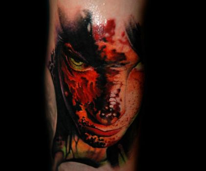 Burned face by redliontattoo