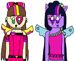 Rainbow Rocks Jessica and Twilight Sparkles by angelthewingedcat