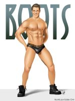 Sexy Hunk in PVC Speedo and Leather Boots and Belt by eddiechin