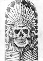 Indian skull sketch 2 by dfmurcia