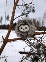 Fuzzy owl in winter wonderland2 by demiveemon