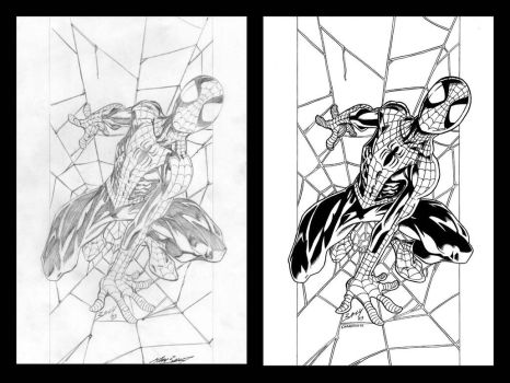 Mark Bagley's Ult. Spidey 41 cover side-to-side by VikThor