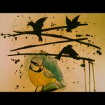 Blue tit in watercolour and Ink by IlsonWay