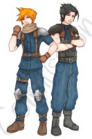 Zack and Cloud -Commission- by KatrinaBonebrake
