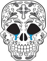 Day of the Dead Skull crying by mattdmofo