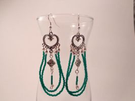 Celtic Knot and Teal Bead Earrings 36 by TheSortedBead