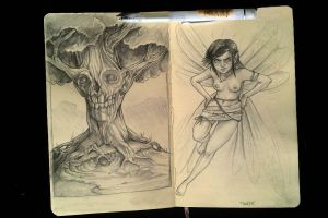 Skull-tree and Tinkerbell sketchbook by TmoeGee