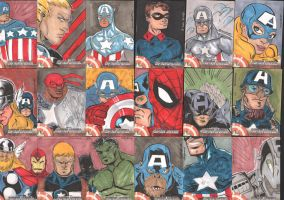 Captain America Sketch Cards by eugenecommodore