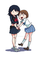 Mako and Ryuko by Asparagusunited