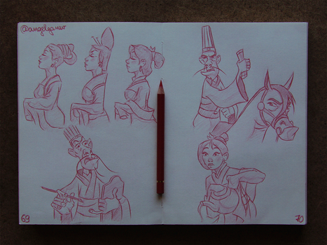 Animation Sketches - Mulan by AngelGanev
