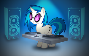 Vinyl Scratch Blue Wallpaper - Revision 1 by rmc008