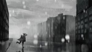 Running From The Rain - speedpaint by Karollos