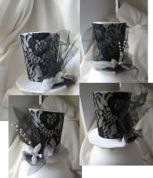 Black and white mini top hat by MelissaRTurner