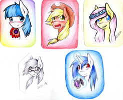 Pony faces... CocoP, AJ, FS, VinylS, OC by AviAlexis25