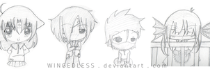 Chibi Sketches owo by WINGEDLESS