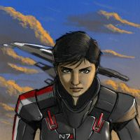 Shepard and Normandy SR2 by RobtheDoodler