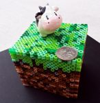 Minecraft Grass Block Perler (Feat. HM Cow) by tacoroach