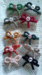 Hair combs with knitted bows by BerryMouse