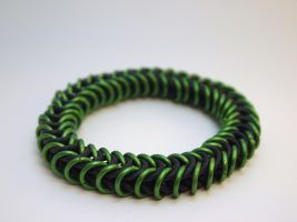 Green and Black Square Snake Bangle by ofmyhats
