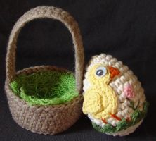 Easter egg basket duck by meekssandygirl