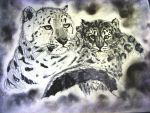 Snow Leopard Mother and Cub by Fabulous009