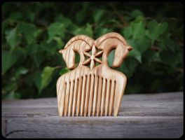 Solar Horses (hair comb) by pagan-art