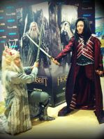 King Thranduil vs Lord Elrond by seawaterwitch