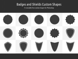 Badges and Shields Custom Shapes by xara24