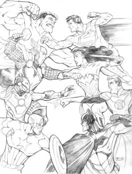 Avengers Vs. Justice League by guinnessyde