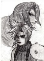 cloud and sephiroth by adeza
