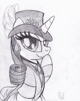 Steampunk Rarity (Commission) by drawponies